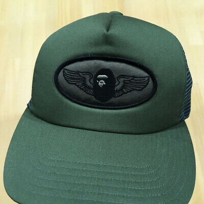fcb14aec BAPE A BATHING APE khaki green mesh cap trucker hat MEN'S SZ FREE MADE IN  JAPAN