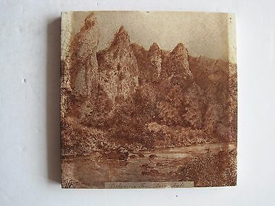 Antique Victorian Mintons Transfer Print Tile - Pickering Tor, Dove Dale