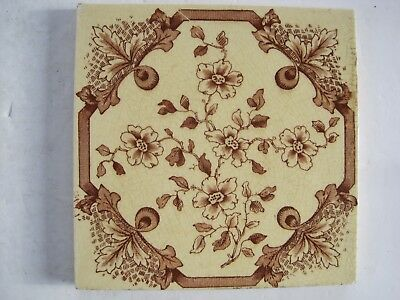 ANTIQUE VICTORIAN BURMANTOFTS TRANSFER PRINT FLORAL WALL TILE c1885