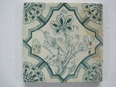 Antique Victorian Blue Transfer Print Floral Tile - Ivy Type Flower
