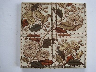 Antique Victorian Print And Tint Tile - Chrysanthemums C1884 Sherwin & Cotton