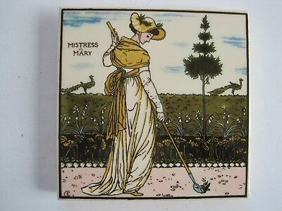 "Vintage 6"" Reproduction Walter Crane Pattern Trivet Tile - Mistress Mary"