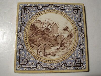 Antique Victorian Mintons Landscape In Circular Frame Tile - Village Of Splugen