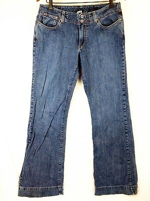 Lucky Brand Womens Dungarees Savvy Blue Jeans Flare Crosshatch USA made Sz 10/30