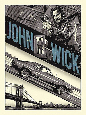 2015 John Wick Baba Yaga Keanu Reeves Silk Screen Movie Poster Not Mondo #/75