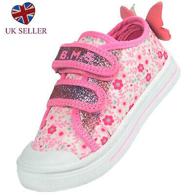 Girls Childrens Kids Pink Flowers Glitter Trainers Shoes Pumps Casual Holiday