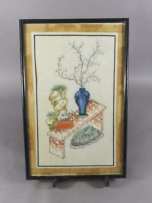 Antique Chinese Painting On Rice Paper Pith Paper With Flowers And Furnitures 1
