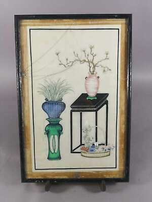 Antique Chinese Painting On Rice Paper Pith Paper With Flowers And Furnitures 2