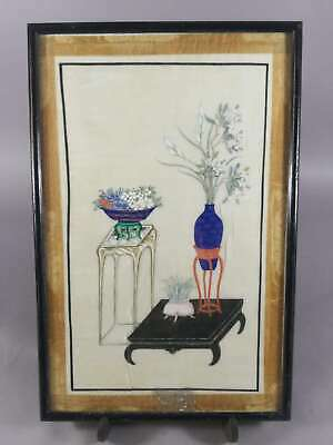 Antique Chinese Painting On Rice Paper Pith Paper With Flowers And Furnitures 3