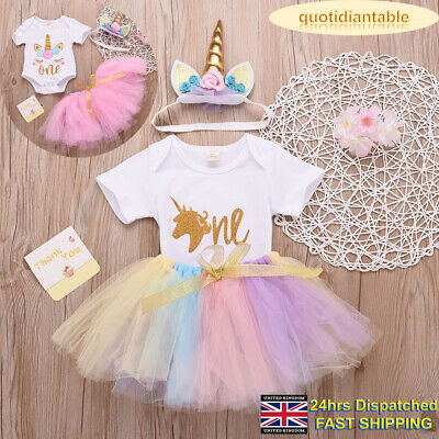 Toddler Baby Girls Party Unicorn Tulle Skirt Outfit Birthday Princess Dress 3Pcs
