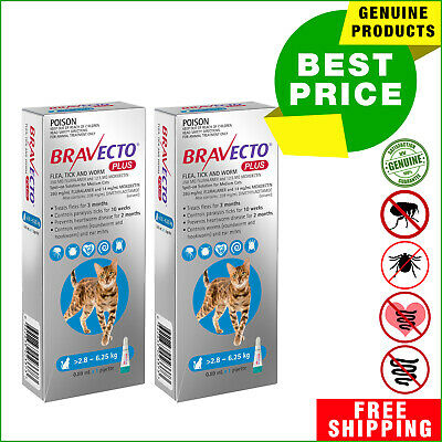 BRAVECTO PLUS for Cat 2 Pipettes BLUE Pack 2.8 to 6.25 Kg Heartworm Flea Control