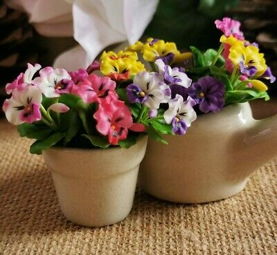 6 x Colorful Mixed Pansy Clay Flower Miniature Dollhouse Handicrafts Collectible