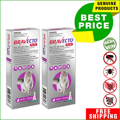 BRAVECTO PLUS for Cats 2 Pipettes PURPLE 6.25 to 12.5 Kg Heartworm Flea Control