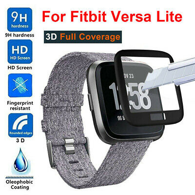 Full Coverage Tempered Glass Screen Protector Cover for Fitbit Versa Lite Watch