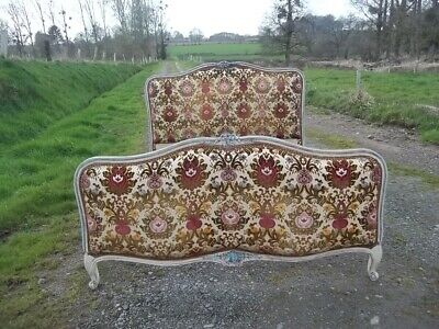 French Quality Vintage  Double L Xv Revival Corbielle Bed Aged   Carved Frame