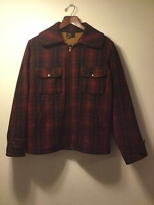 0bbd447621db1 Vintage 40's Woolrich Mackinaw Buffalo Plaid Wool Hunting Jacket - Sz 38  Medium