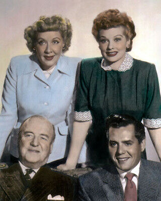 "CAST of I LOVE LUCY 1950s TELEVISION COMEDY 8x10"" HAND COLOR TINTED PHOTOGRAPH"