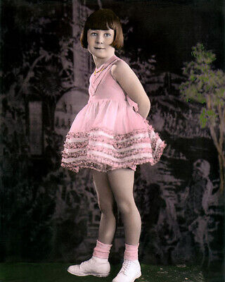"""MARY ANN JACKSON THE LITTLE RASCALS OUR GANG 8x10"""" HAND COLOR TINTED PHOTOGRAPH"""