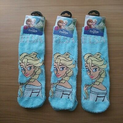 Disney Frozen Girls/ Ladies 3 pairs slipper Socks size 9-12 shoe new+ tags .
