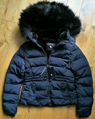 Zara Dark Navy Quilted Down Feather Puffer Jacket With Faux Fur Hood, Size S.