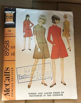 1960s VINTAGE SEWING PATTERN McCALL'S 8958 MISSES JUNIOR DRESS PANTDRESS S14 B34