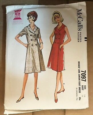 1960's VINTAGE SEWING PATTERN McCALL'S 7097 MISSES' & JUNIOR COAT DRESS  SIZE 14