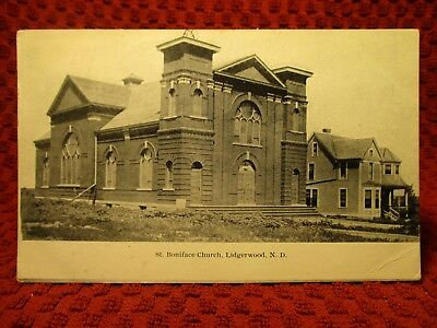 1908. St. Boniface Church. Lidgerwood, North Dakota. Postcard J8