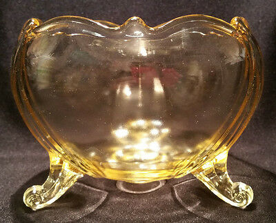 Vintage Yellow Depression Glass Footed Globe Shaped Bowl Scalloped Top Curl Feet