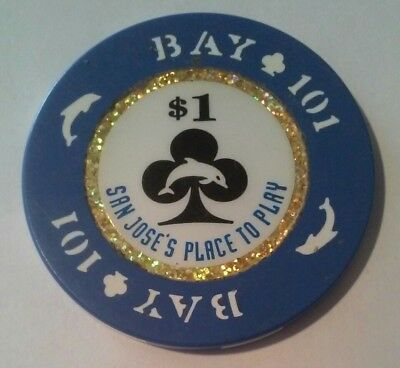 Bay 101 Casino California $1.00 Dolphin Logo Chip Great For Any Collection!