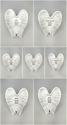 White & Silver Angel Wings Stones Memorial Graveside Cemetery Ornament Tribute