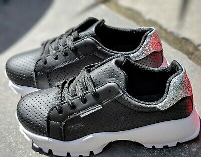 Black Womens Trainers Shoes Daps Comfort Walking Sports Gym Running fittness