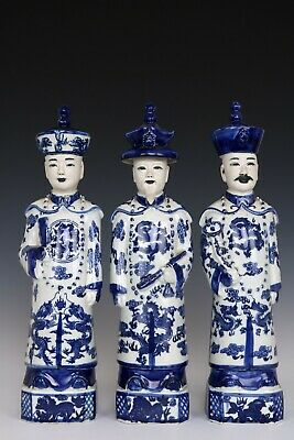 Chinese Beautiful Three Blue and White Porcelain Kings Statues