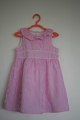 Baby girls Candy Pink & White Striped MOTHERCARE Ruffle Dress- Age 24.-36 months