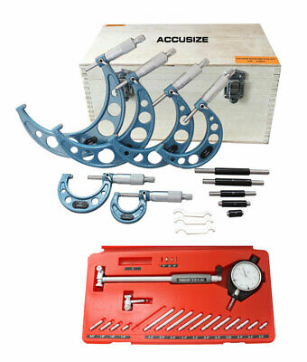 """6 Ps 0-6"""" Outside Micrometers & 1.4-6"""" x 0.0005"""" Dial Bore Gauge"""