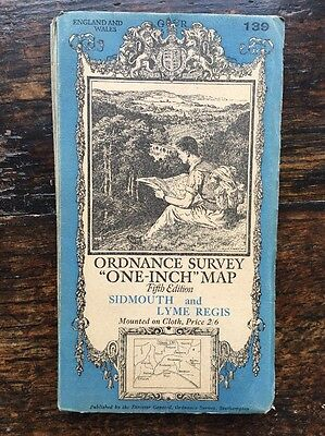 Sidmouth & Lyme Regis 1930's 5th Edition Cloth Ordnance Survey map one-inch 139