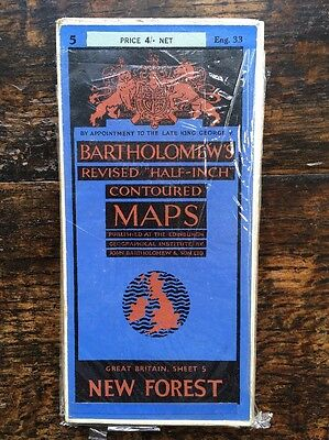 New Forest Cloth Map, 1950's Bartholomews, No 5, Eng 33, half inch contoured