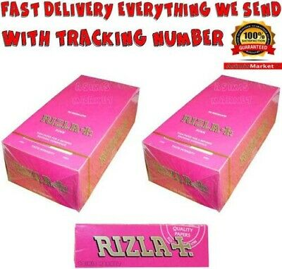 Rizla Pink Smoking Rolling Papers 2x FULL BOX 2x50=100 Booklets Standard Size
