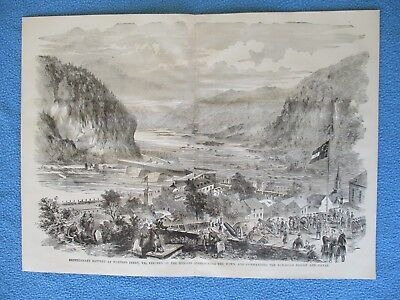 1885 Civil War Print - Confederate Battery at Harper's Ferry, Erected on Heights