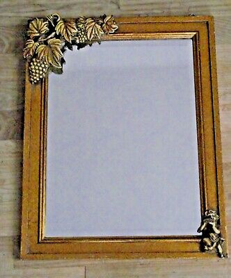 Delightful Vintage French Gold Wood Frame Mirror With Cherub and Grapes Detail