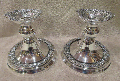 Antique SHERIDAN Silver On Copper USA Pair Of Candlestick Candle Holders -NICE!