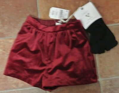 New Girls Next Girls Velour Shorts with Tights age Burgandy 5-6 years