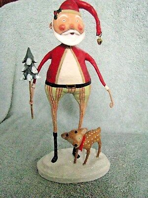 Lori Mitchell Santa Claus with Baby Comet Reindeer Figure Christmas Decor