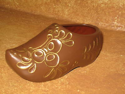 Dutch Shoe Ceramic Collectible Hand Made Painted Brown Shoes Collectors Item