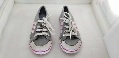 Girls Grey And Pink Adidas Trainers Size Kids Uk 8 *FREE UK SHIPPING*