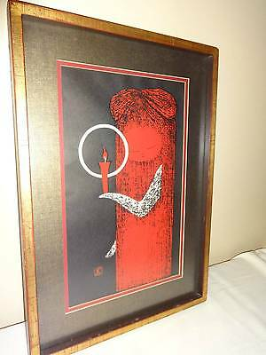 Modern Japanese Wood Block Print of a Girl with Candle Framed