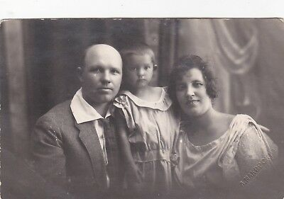 1920s Beautiful family man woman little girl old antique Soviet Russian photo