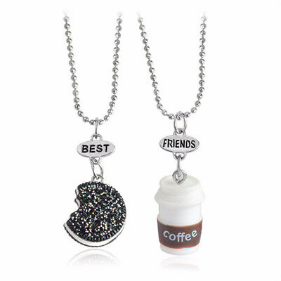 86f9610c70 2PCS Best Friends Biscuits Coffee Pendant Necklaces Friendship Jewelry Gift  JKUS