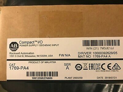 Brand New Allen Bradley CompactLogix 1769-PA4 Power Supply