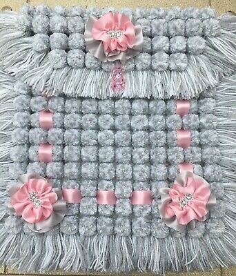 POM POM BLANKET PRAM COVER PINK AND IVORY BN