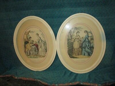 2 Original Vtg Victorian French Ladies  OVAL Framed Prints LA MODE Illustree